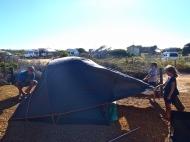Coronation beach, montage de tente en plein vent