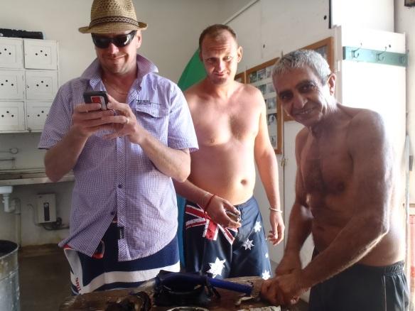 Les trois copains après une petite pêche sous-marine